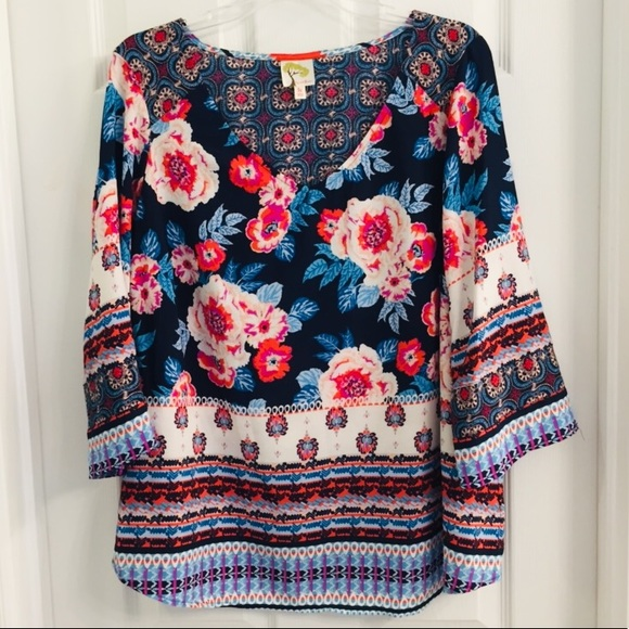 8ce59539ad8883 Anthropologie Tops | 220 Anthropology By Fig Flower Boho Shirt 1x ...